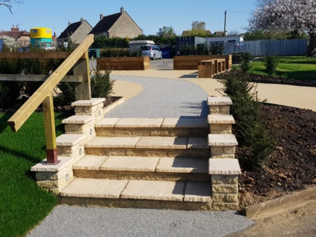 Resin Pathway and stone steps for Woodgreen School