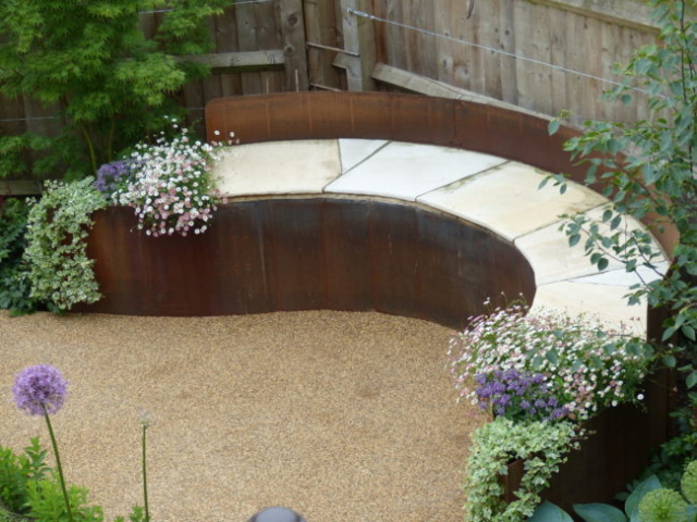 Seating area with resin pathway